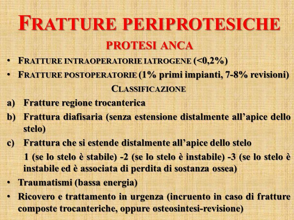 F RATTURE PERIPROTESICHE PROTESI ANCA F RATTURE INTRAOPERATORIE IATROGENE (<0,2%) F RATTURE INTRAOPERATORIE IATROGENE (<0,2%) F RATTURE POSTOPERATORIE