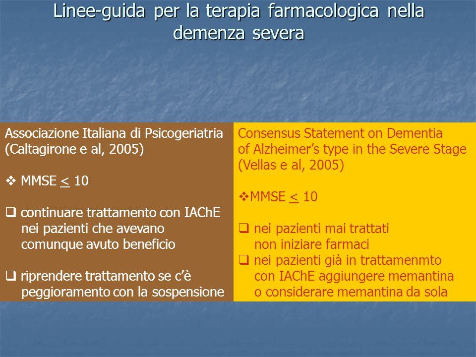 Linee-guida per la terapia farmacologica nella demenza severa Associazione Italiana di Psicogeriatria (Caltagirone e al, 2005) MMSE < 10 continuare tr