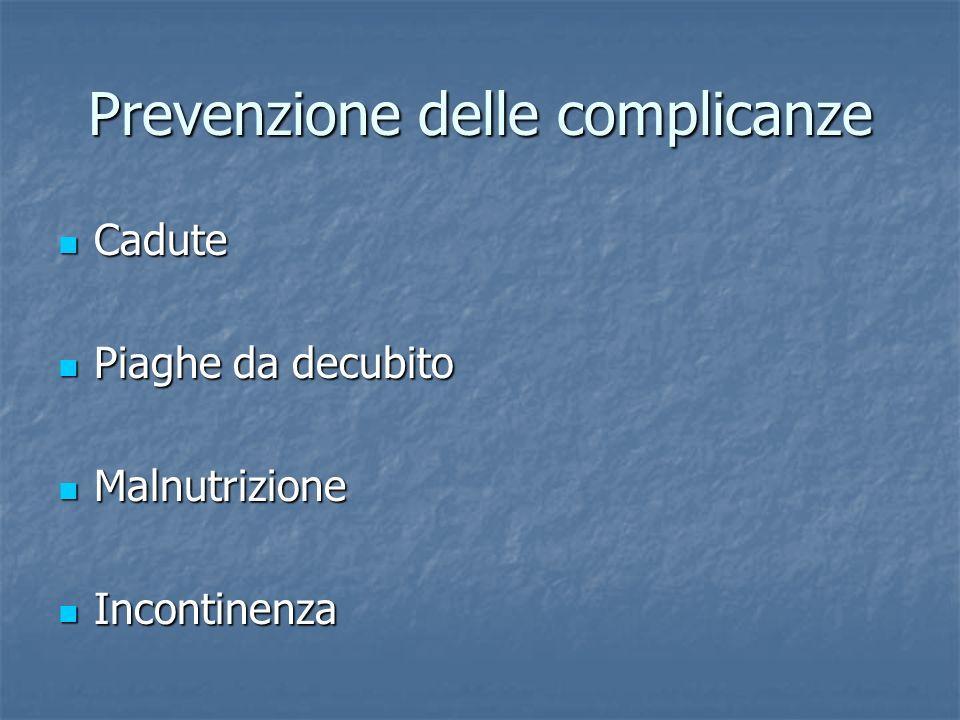 Prevenzione delle complicanze Cadute Cadute Piaghe da decubito Piaghe da decubito Malnutrizione Malnutrizione Incontinenza Incontinenza