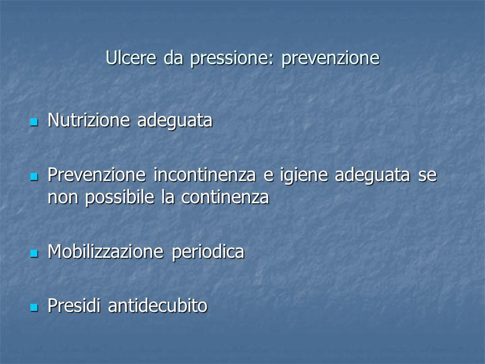 Ulcere da pressione: prevenzione Nutrizione adeguata Nutrizione adeguata Prevenzione incontinenza e igiene adeguata se non possibile la continenza Pre