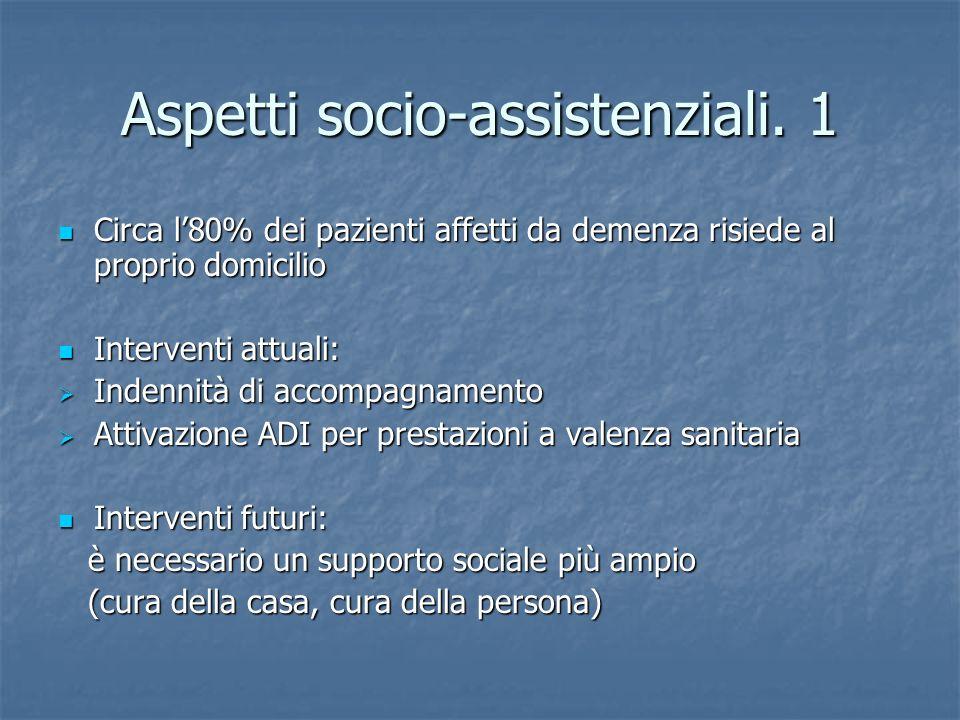 Aspetti socio-assistenziali. 1 Circa l80% dei pazienti affetti da demenza risiede al proprio domicilio Circa l80% dei pazienti affetti da demenza risi