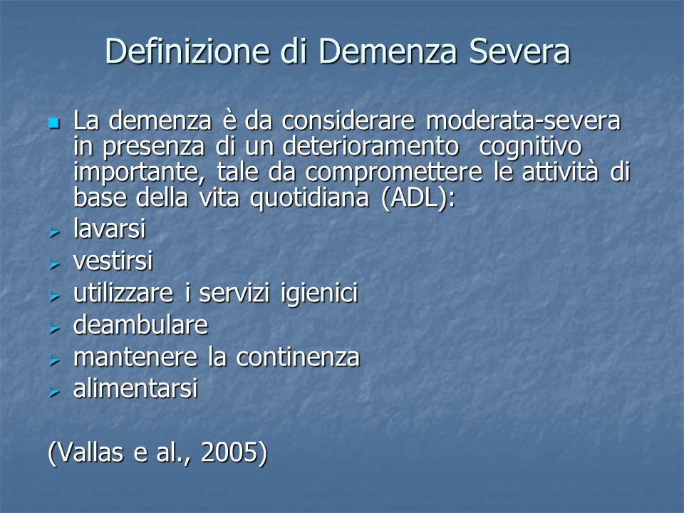 CDRGDSMMSEAutonomiaAnni 0-0.5 assente o dubbia 1-226-30 Completa per ADL e IADL 2-3 1lieve3-418-25 Autonomia per ADL Vita indipendente con minimo aiuto 2-3 2moderata510-17Supervisione2 3severa6-70-9 Dipendenza completa 2-3 Modificato da Gauthier e al., 2002 Stadi della Malattia di Alzheimer