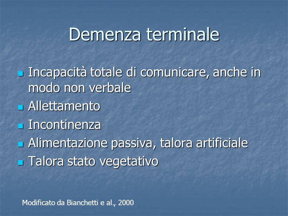 Demenza terminale Incapacità totale di comunicare, anche in modo non verbale Incapacità totale di comunicare, anche in modo non verbale Allettamento A