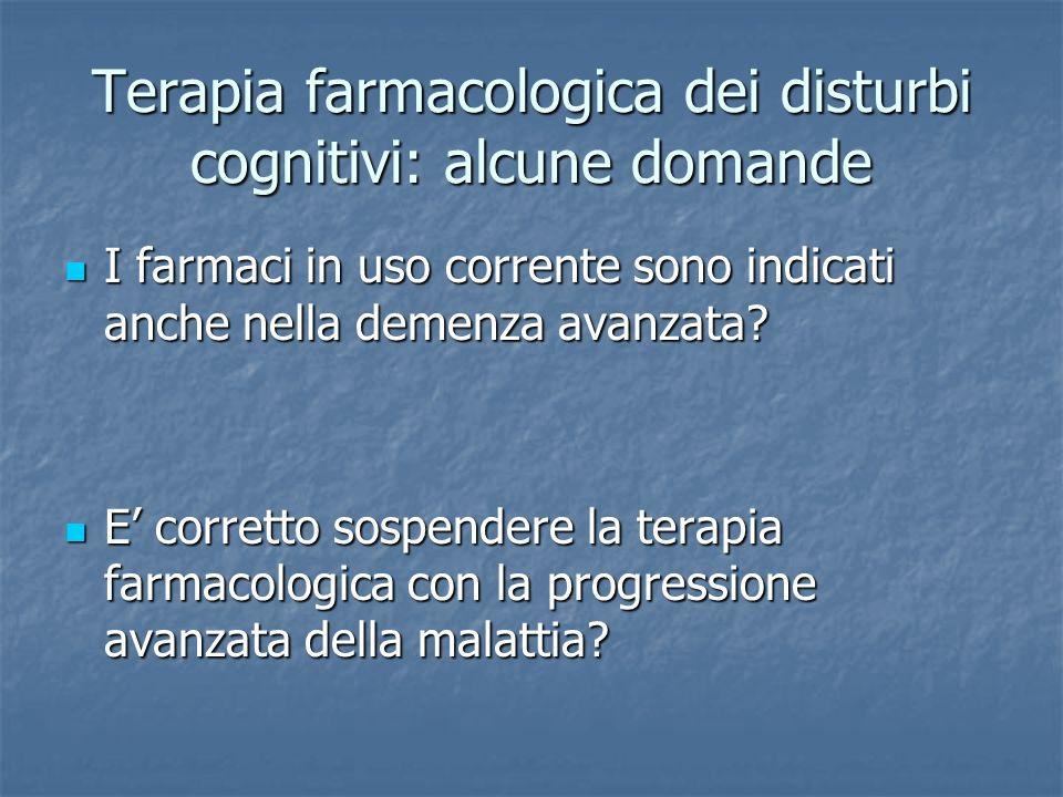 Uso dei farmaci nella demenza avanzata Black e al 2007Donepezil343 24 settimane RCT Beneficio alla CIBIC-plus (impressione globale di cambiamento) e nel dominio cognitivo Winblad e al 2006 Donepezil248 6 mesi RCT Beneficio nei domini cognitivo e funzionale Feldman e al 2003 Donepezil290 24 settimane RCT Beneficio alla CIBIC-plus e nei domini cognitivo, funzionale, comportamentale Tariot e al 2004 Memantina + Donepezil 403 24 settimane RCT Beneficio nei domini cognitivo e funzionale Reisberg e al 2003Memantina252* 28 settimane RCT Beneficio alla CIBIC-plus e nel dominio funzionale Wilkinson e al 2002Galantamina 6 mesi Beneficio nei domini cognitivo, funzionale e comportamentale Aupperle e al 2004Rivastigmina72** 52 settimane OL Beneficio nei domini comportamentale, cognitivo e alla CIBIC-plus
