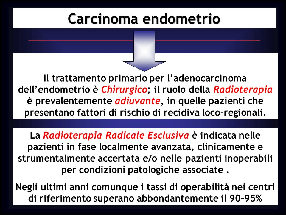 Carcinoma endometrio Ormonoterapia adiuvante Lanalisi cumulativa di 4351 pazienti incluse in 6 studi clinici, ha dimostrato che la terapia progestinica non riduce significativamente il rischio di recidiva (RR=0.81, IC 95%=0.65-1.01) e di morte per tumore (RR= 0.88, IC 95%=0.71-1.1) mentre aumenta il rischio di morte per altra causa (RR=1.33, IC 95%=1.02-1.73) Pertanto la terapia con progestinici non migliora la sopravvivenza globale e quindi non ha alcuna indicazione come trattamento adiuvante