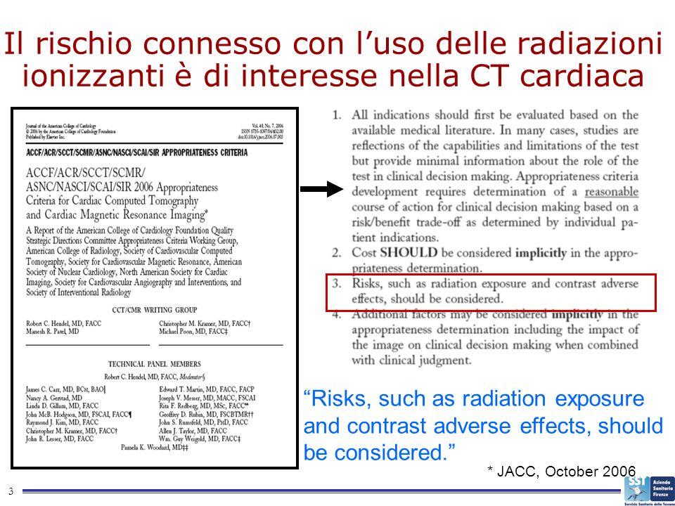 3 Il rischio connesso con luso delle radiazioni ionizzanti è di interesse nella CT cardiaca * JACC, October 2006 Risks, such as radiation exposure and