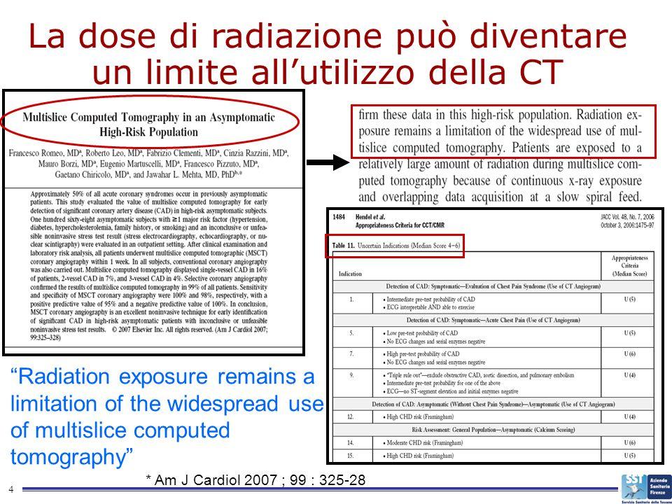 4 La dose di radiazione può diventare un limite allutilizzo della CT Radiation exposure remains a limitation of the widespread use of multislice compu