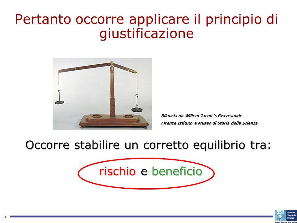 5 Pertanto occorre applicare il principio di giustificazione Occorre stabilire un corretto equilibrio tra: rischio e beneficio rischio e beneficio Bil