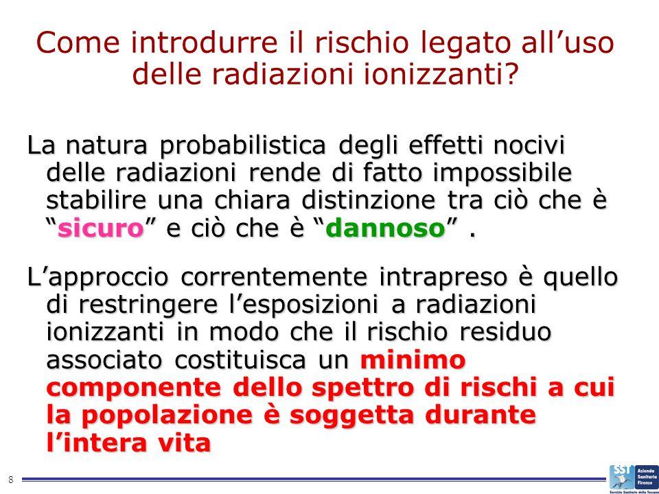 8 Come introdurre il rischio legato alluso delle radiazioni ionizzanti? La natura probabilistica degli effetti nocivi delle radiazioni rende di fatto