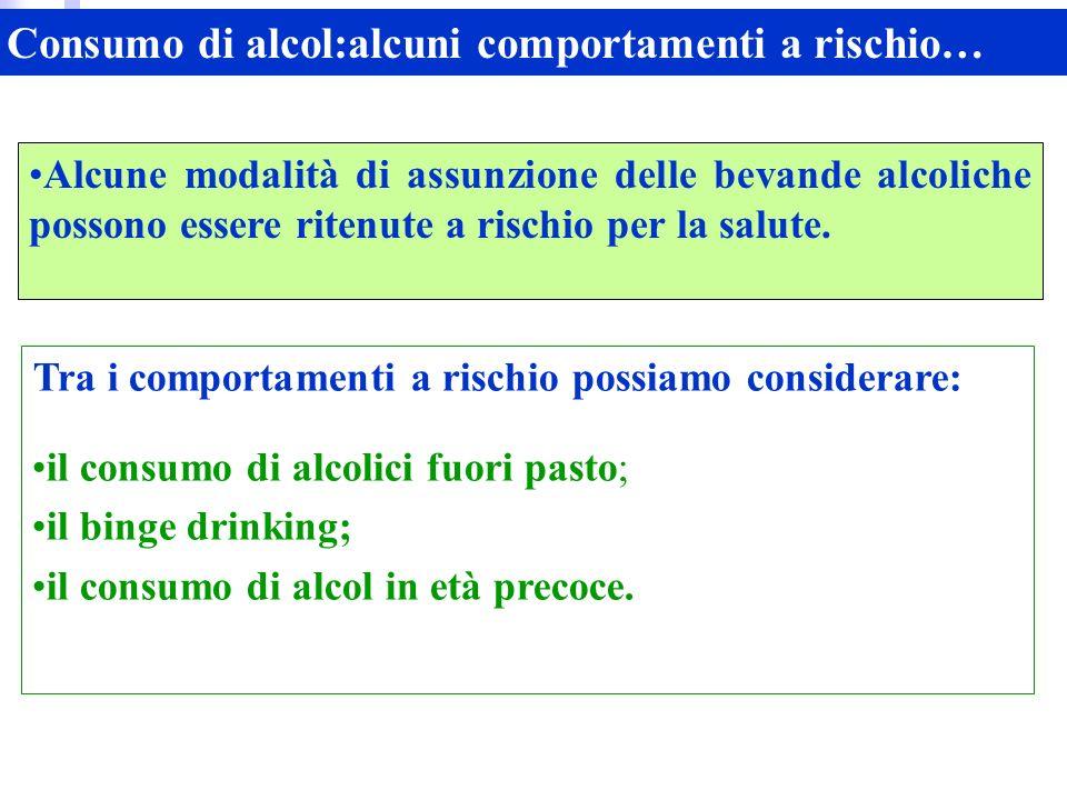 Alcune modalità di assunzione delle bevande alcoliche possono essere ritenute a rischio per la salute.