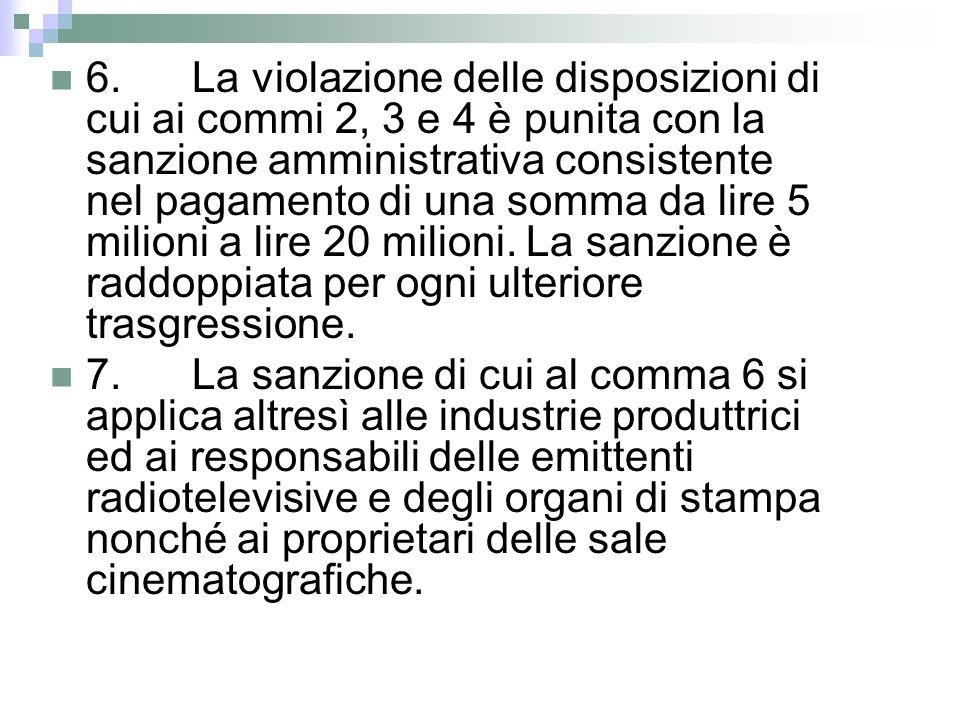 6. La violazione delle disposizioni di cui ai commi 2, 3 e 4 è punita con la sanzione amministrativa consistente nel pagamento di una somma da lire 5