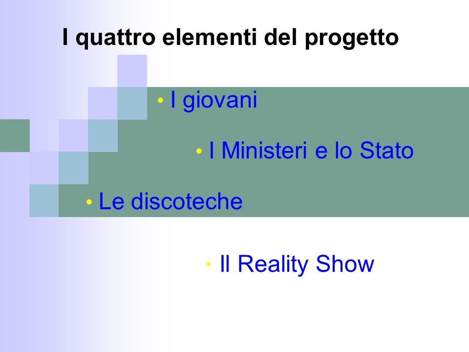Il Reality Show I quattro elementi del progetto Le discoteche I Ministeri e lo Stato I giovani