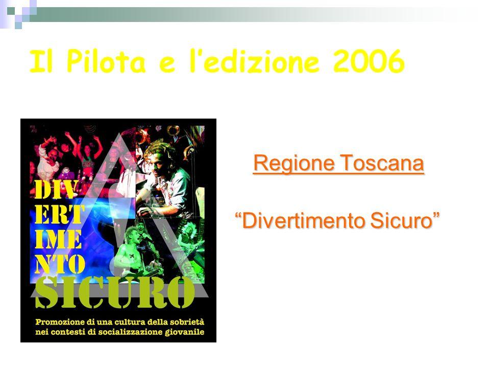 Il Pilota e ledizione 2006 Regione Toscana Ledizione 2006 si è svolta allinterno del Progetto della Regione Toscana già esistente Divertimento Sicuro Portato avanti dai servizi del SST (capofila il Dipartimento Prevenzione USL 5 Pisa)