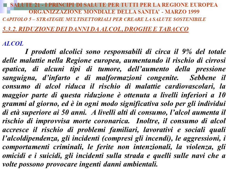 SALUTE 21 - I PRINCIPI DI SALUTE PER TUTTI PER LA REGIONE EUROPEA ORGANIZZAZIONE MONDIALE DELLA SANITA - MARZO 1999 CAPITOLO 5 – STRATEGIE MULTISETTORIALI PER CREARE LA SALUTE SOSTENIBILE 5.3.2.