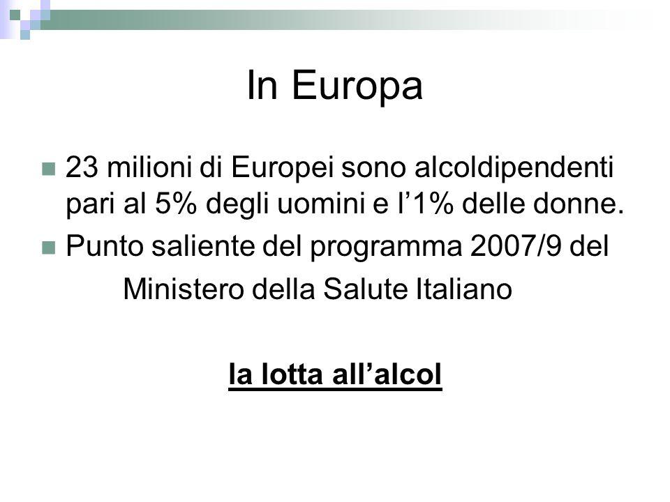 In Europa 23 milioni di Europei sono alcoldipendenti pari al 5% degli uomini e l1% delle donne.