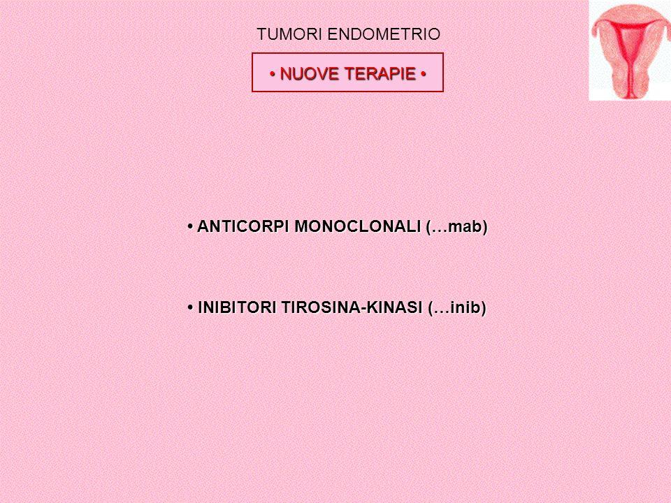 TUMORI ENDOMETRIO NUOVE TERAPIE NUOVE TERAPIE ANTICORPI MONOCLONALI (…mab) ANTICORPI MONOCLONALI (…mab) INIBITORI TIROSINA-KINASI (…inib) INIBITORI TI