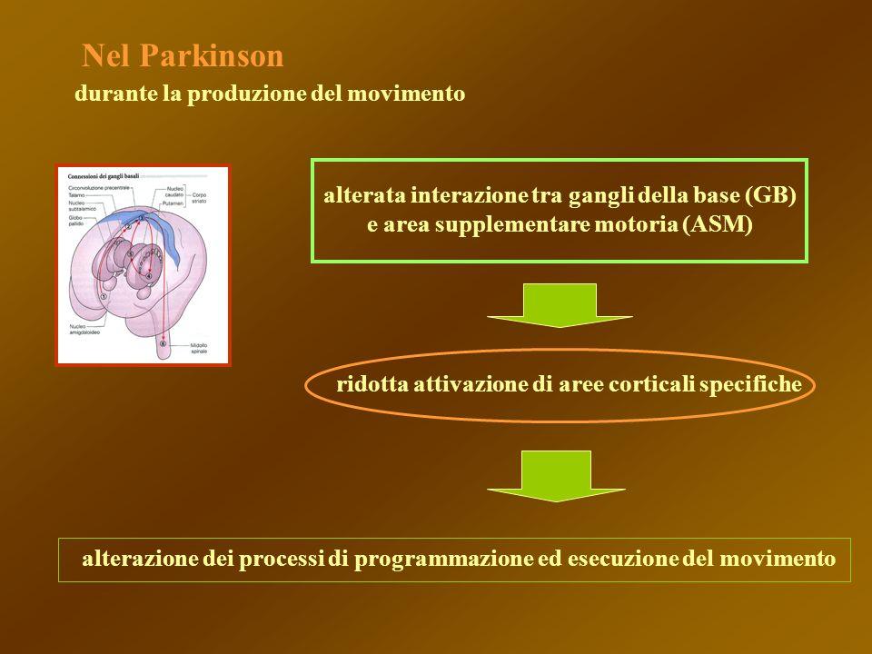 alterata interazione tra gangli della base (GB) e area supplementare motoria (ASM) ridotta attivazione di aree corticali specifiche alterazione dei pr