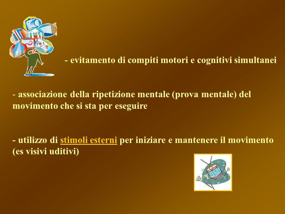 - evitamento di compiti motori e cognitivi simultanei - associazione della ripetizione mentale (prova mentale) del movimento che si sta per eseguire -
