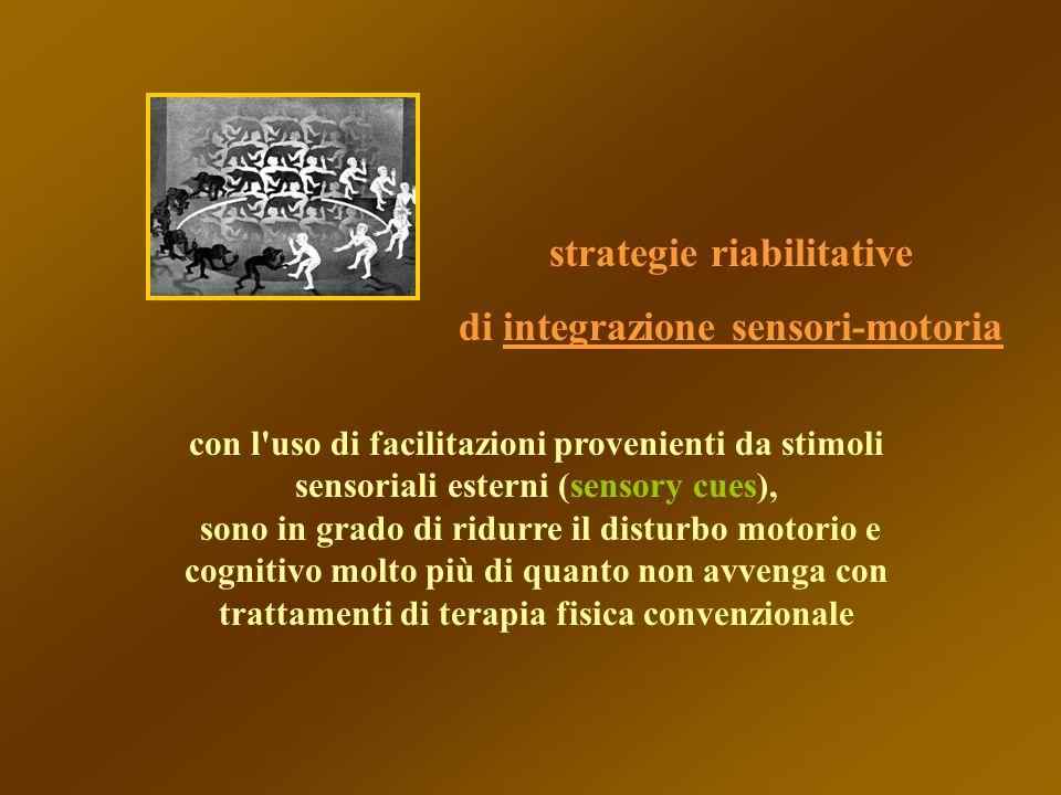 con l'uso di facilitazioni provenienti da stimoli sensoriali esterni (sensory cues), sono in grado di ridurre il disturbo motorio e cognitivo molto pi