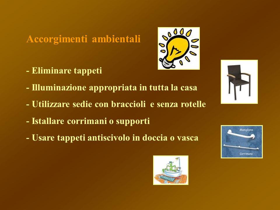 Accorgimenti ambientali - Eliminare tappeti - Illuminazione appropriata in tutta la casa - Utilizzare sedie con braccioli e senza rotelle - Istallare