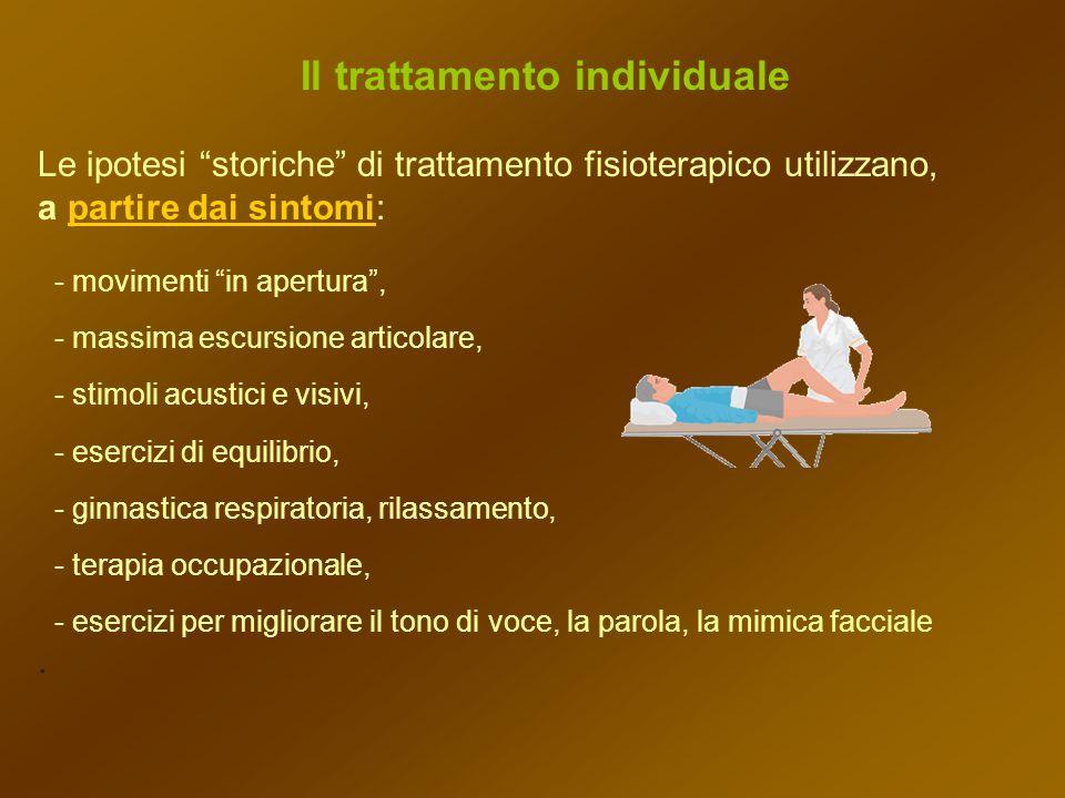Il trattamento individuale Le ipotesi storiche di trattamento fisioterapico utilizzano, a partire dai sintomi: - movimenti in apertura, - massima escu