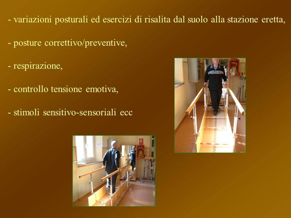 - variazioni posturali ed esercizi di risalita dal suolo alla stazione eretta, - posture correttivo/preventive, - respirazione, - controllo tensione e
