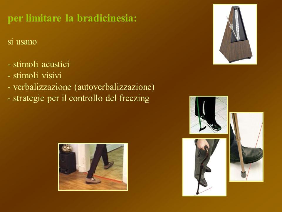 per limitare la bradicinesia: si usano - stimoli acustici - stimoli visivi - verbalizzazione (autoverbalizzazione) - strategie per il controllo del fr