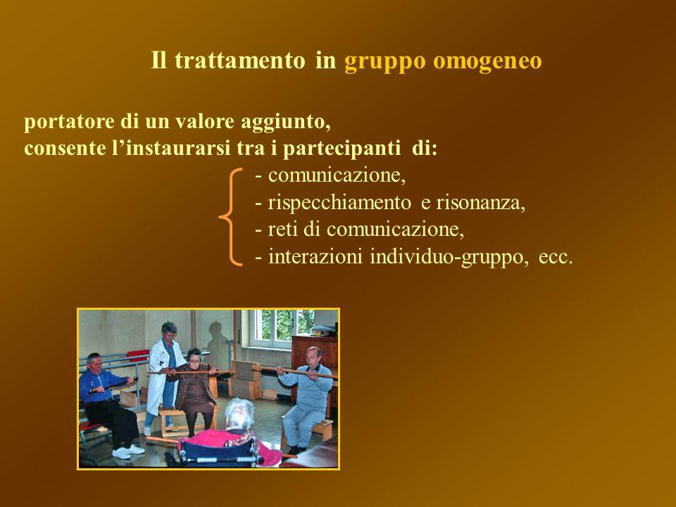 Il trattamento in gruppo omogeneo portatore di un valore aggiunto, consente linstaurarsi tra i partecipanti di: - comunicazione, - rispecchiamento e r