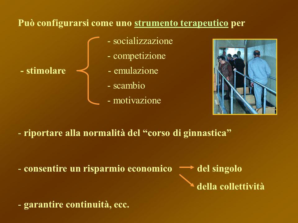 Può configurarsi come uno strumento terapeutico per - socializzazione - competizione - stimolare - emulazione - scambio - motivazione - riportare alla