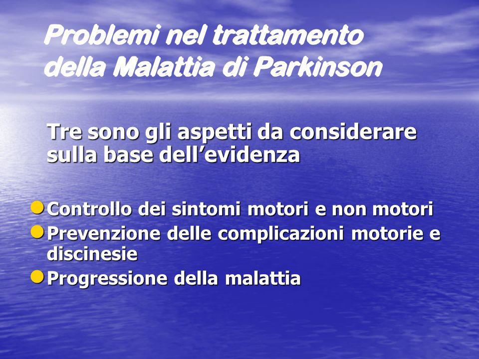 Problemi nel trattamento della Malattia di Parkinson Tre sono gli aspetti da considerare sulla base dellevidenza l Controllo dei sintomi motori e non