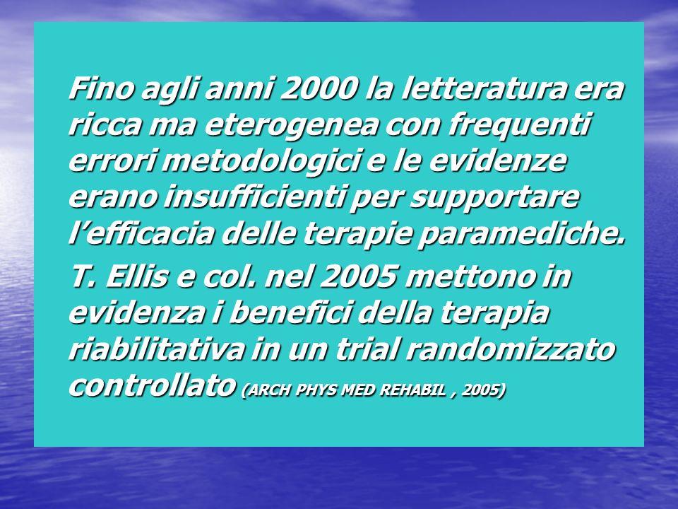 Fino agli anni 2000 la letteratura era ricca ma eterogenea con frequenti errori metodologici e le evidenze erano insufficienti per supportare lefficac