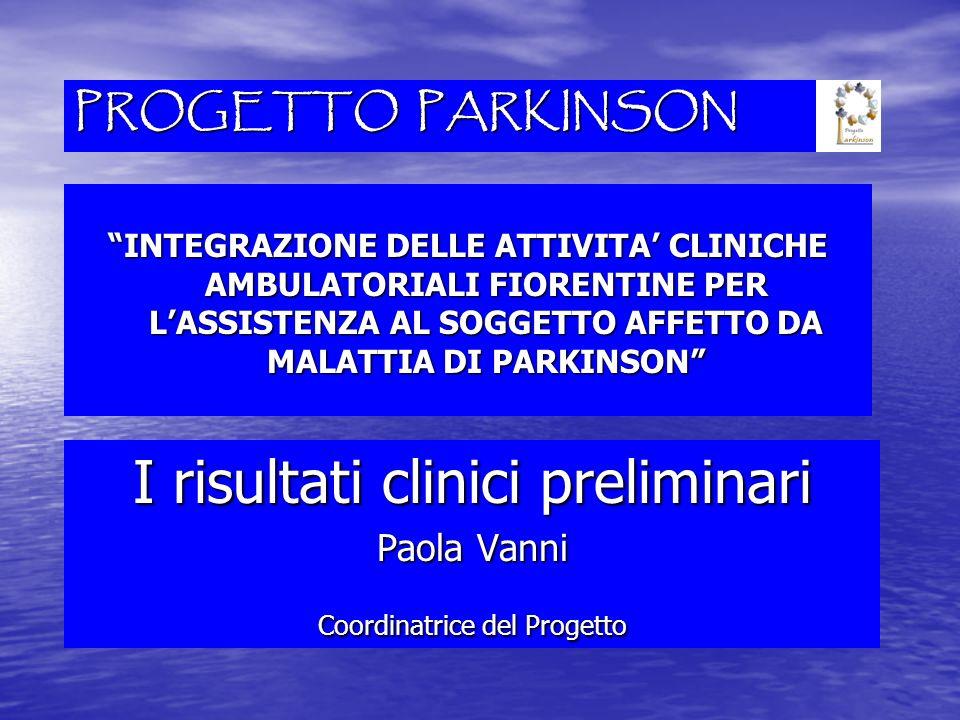 PROGETTO PARKINSON INTEGRAZIONE DELLE ATTIVITA CLINICHE AMBULATORIALI FIORENTINE PER LASSISTENZA AL SOGGETTO AFFETTO DA MALATTIA DI PARKINSON I risult