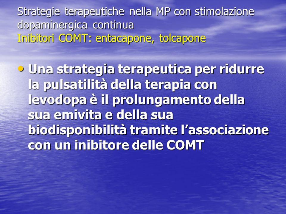 Strategie terapeutiche nella MP con stimolazione dopaminergica continua Inibitori COMT: entacapone, tolcapone Una strategia terapeutica per ridurre la