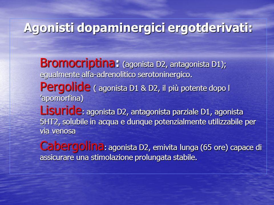 Agonisti dopaminergici ergotderivati: Bromocriptina: (agonista D2, antagonista D1); egualmente alfa-adrenolitico serotoninergico. Pergolide ( agonista
