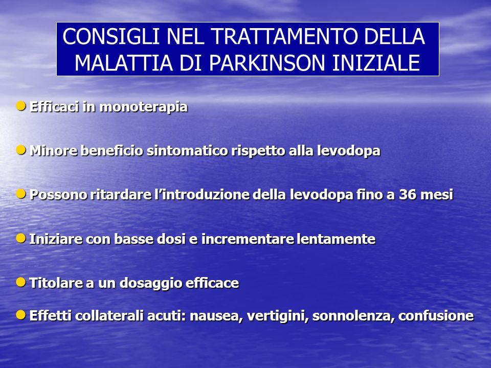 l Efficaci in monoterapia l Minore beneficio sintomatico rispetto alla levodopa l Possono ritardare lintroduzione della levodopa fino a 36 mesi l Iniz