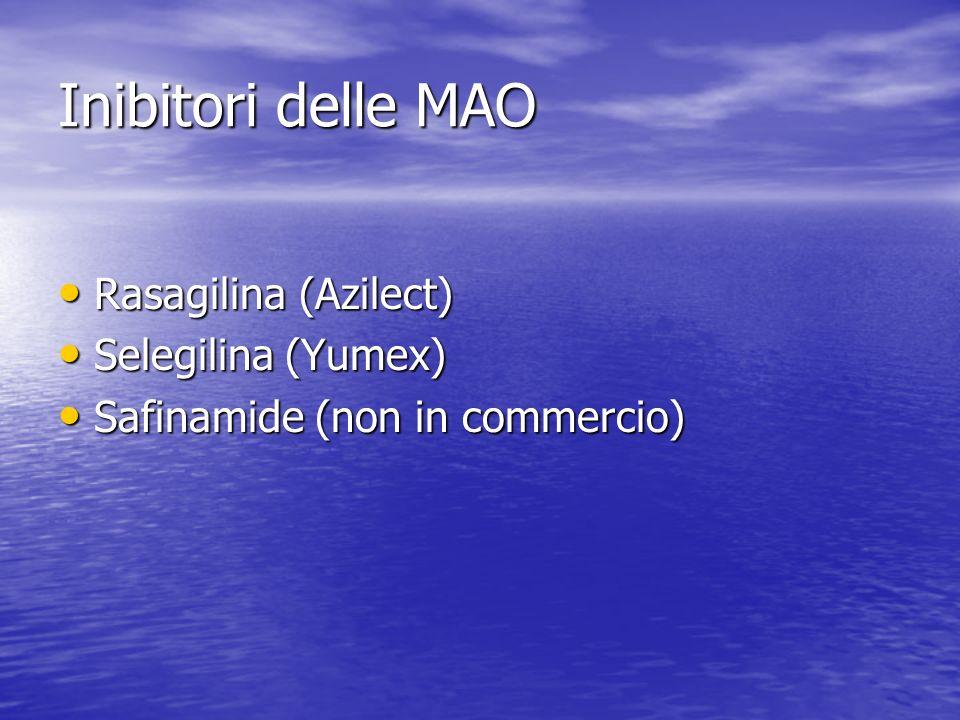 Inibitori delle MAO Rasagilina (Azilect) Rasagilina (Azilect) Selegilina (Yumex) Selegilina (Yumex) Safinamide (non in commercio) Safinamide (non in c