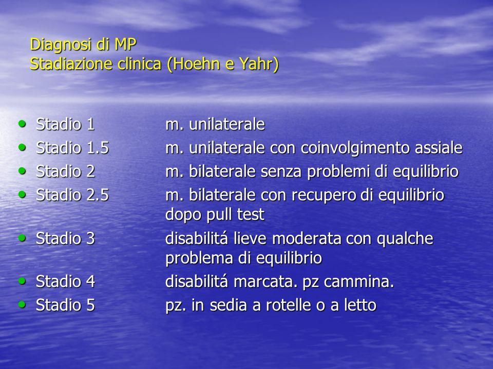 Unified Parkinsons Disease Rating Scale Unified Parkinsons Disease Rating Scale Sezione I: stato mentale,comportamento,umore (4 items) Sezione I: stato mentale,comportamento,umore (4 items) Sezione II: attività della vita quotidiana (ADL) (13 items) Sezione II: attività della vita quotidiana (ADL) (13 items) Sezione III: valutazione motoria (14 items) Sezione III: valutazione motoria (14 items) Sezione IV: complicazioni motorie della malattia (11 items) Sezione IV: complicazioni motorie della malattia (11 items) Diagnosi di MP:scale di valutazione SCALA UPDRS