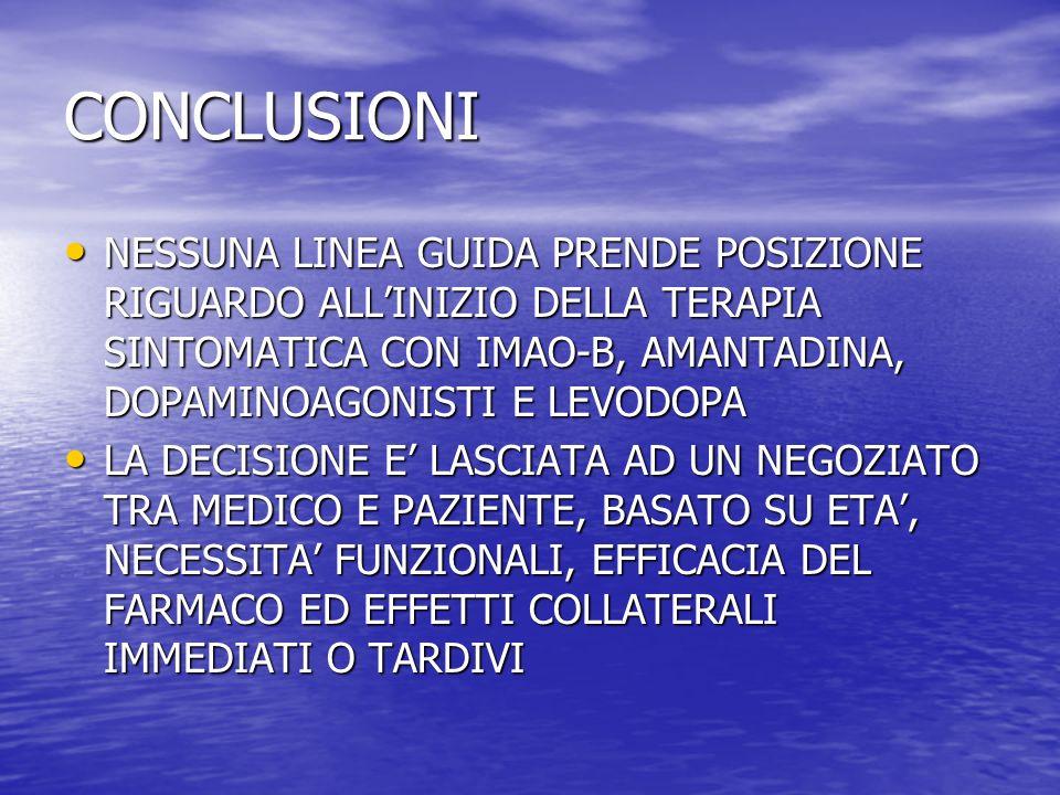 CONCLUSIONI NESSUNA LINEA GUIDA PRENDE POSIZIONE RIGUARDO ALLINIZIO DELLA TERAPIA SINTOMATICA CON IMAO-B, AMANTADINA, DOPAMINOAGONISTI E LEVODOPA NESS