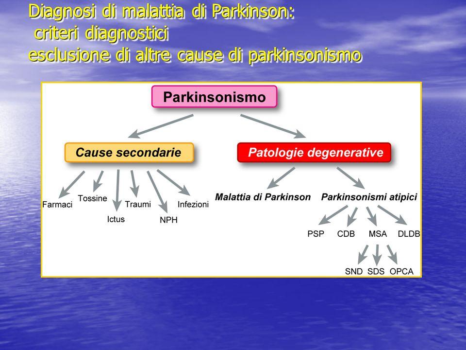 Diagnosi di MP: parkinsonismi secondari ( farmaci) Farmaci responsabili di parkinsonismo Neurolettici Neurolettici Antidepressivi ( inibitori selettivi reuptake serotonina ) Antidepressivi ( inibitori selettivi reuptake serotonina ) Antivertiginosi ed antiemicranici Antivertiginosi ed antiemicranici Antiemetici Antiemetici Antiipertensivi Antiipertensivi Vasoattivi cerebrali Vasoattivi cerebrali Antiepilettici ( valproato, dintoina ) Antiepilettici ( valproato, dintoina ) Altri ( amiodarone, cimetidina, litio ) Altri ( amiodarone, cimetidina, litio )