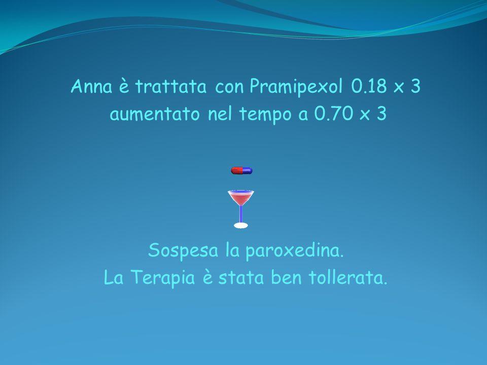 Anna è trattata con Pramipexol 0.18 x 3 aumentato nel tempo a 0.70 x 3 Sospesa la paroxedina. La Terapia è stata ben tollerata.