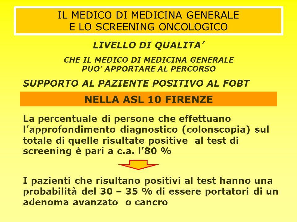 NELLA ASL 10 FIRENZE La percentuale di persone che effettuano lapprofondimento diagnostico (colonscopia) sul totale di quelle risultate positive al te