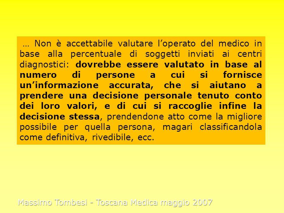 … Non è accettabile valutare loperato del medico in base alla percentuale di soggetti inviati ai centri diagnostici: dovrebbe essere valutato in base