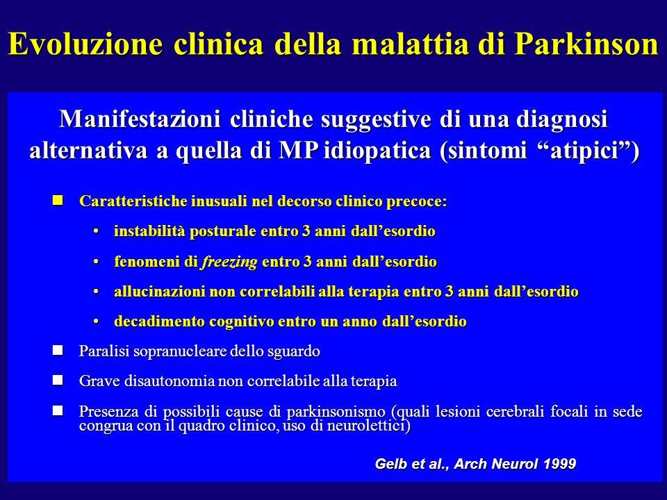 nCaratteristiche inusuali nel decorso clinico precoce: instabilità posturale entro 3 anni dallesordioinstabilità posturale entro 3 anni dallesordio fe