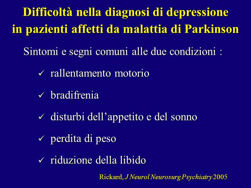 Sintomi e segni comuni alle due condizioni : rallentamento motorio rallentamento motorio bradifrenia bradifrenia disturbi dellappetito e del sonno dis