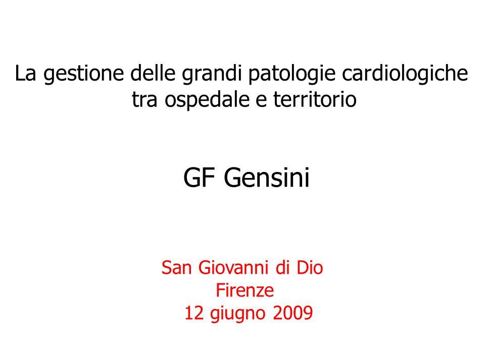 La gestione delle grandi patologie cardiologiche tra ospedale e territorio San Giovanni di Dio Firenze 12 giugno 2009 GF Gensini