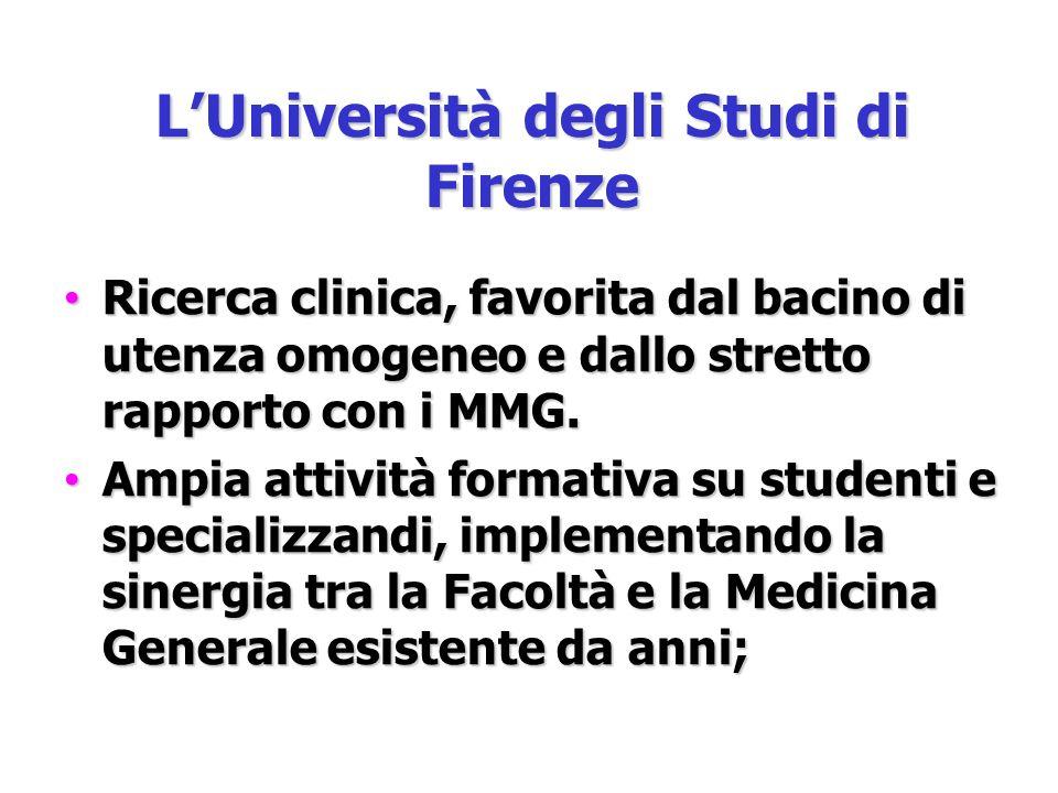LUniversità degli Studi di Firenze Ricerca clinica, favorita dal bacino di utenza omogeneo e dallo stretto rapporto con i MMG.