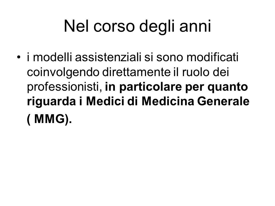 Nel corso degli anni i modelli assistenziali si sono modificati coinvolgendo direttamente il ruolo dei professionisti, in particolare per quanto riguarda i Medici di Medicina Generale ( MMG).
