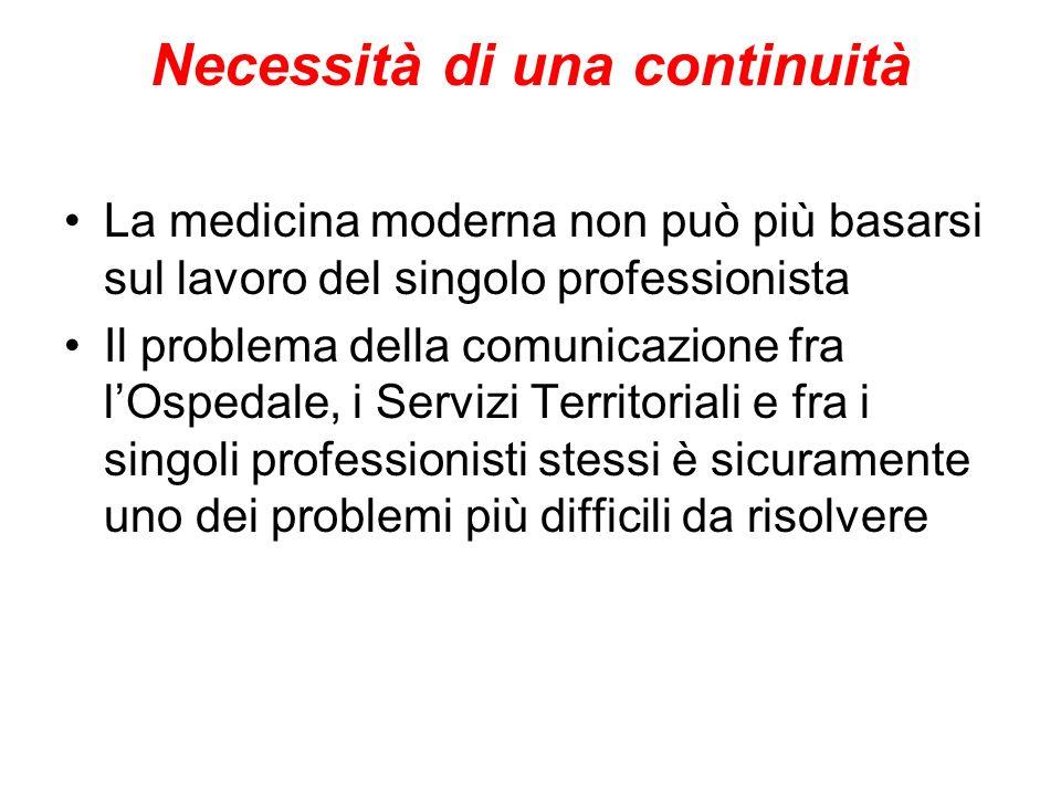 Necessità di una continuità La medicina moderna non può più basarsi sul lavoro del singolo professionista Il problema della comunicazione fra lOspedale, i Servizi Territoriali e fra i singoli professionisti stessi è sicuramente uno dei problemi più difficili da risolvere