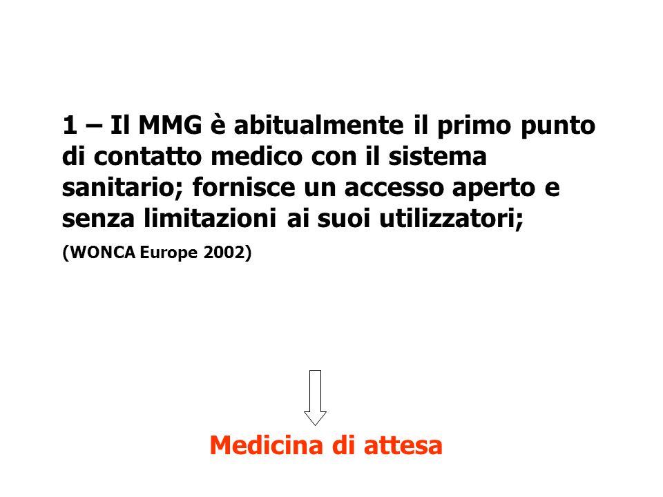 Cure Primarie 1 – Il MMG è abitualmente il primo punto di contatto medico con il sistema sanitario; fornisce un accesso aperto e senza limitazioni ai suoi utilizzatori; (WONCA Europe 2002) Medicina di attesa