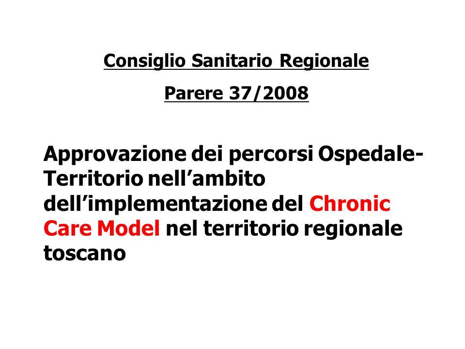 Consiglio Sanitario Regionale Parere 37/2008 Approvazione dei percorsi Ospedale- Territorio nellambito dellimplementazione del Chronic Care Model nel territorio regionale toscano